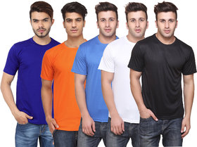 Pack of 5 CONCEPTS Multicolor Solid Round Neck T-Shirt For Men