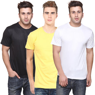 KETEX Mens Multicolor Solid Round Neck TShirt Pack of 3