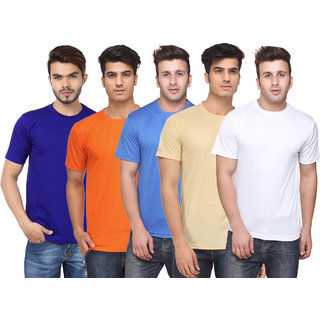 Pack of 5 Ketex Men's Multicolor Solid Round Neck T-Shirt