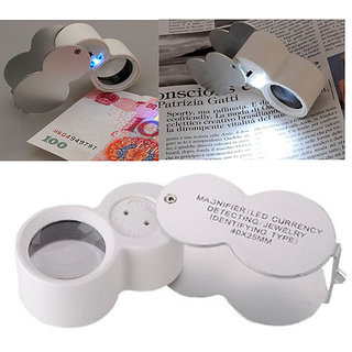 Magnifier 40X 25mm Jewelers Loupe Magnifying Glass LED Lighted  UV Lights