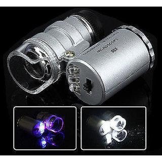 Mini 60x Magnification LED Pocket Microscope Jewelry Magnifier Glass Loupe