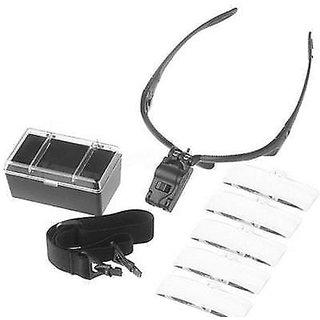 Head Band Magnifier Glass Visor 2-LED Light Magnifying Loupe Lens