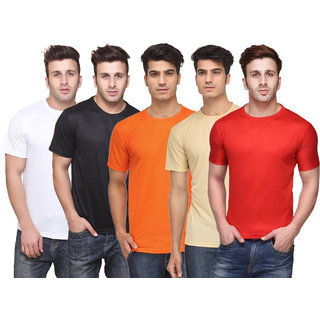 KETEX Mens Multicolor Solid Round Neck TShirt Pack of 5