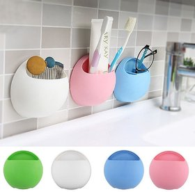 1 Pcs Round Shape Plastic Bathroom Suction Cup Toothbrush or Soap Holder (Color as per availability)
