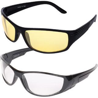Aligatorr Stylish UV400 Yellow and White Night Drive Combo Sunglass