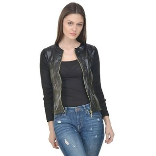 Raabta Black Faux Leather Jacket Rib