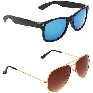 06a49df22f Buy Zyaden Blue UV Protection Wayfarer Unisex Sunglasses (Pack of 2 ...
