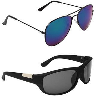 Zyaden Blue UV Protection Aviator Unisex Sunglasses (Pack of 2)