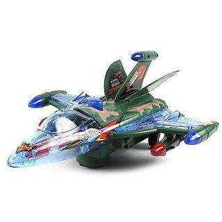 Sky Alpha Eagle Fighter Jet Battery Operated Bump and Go Toy Plane w/ Flashing Lights, Sounds