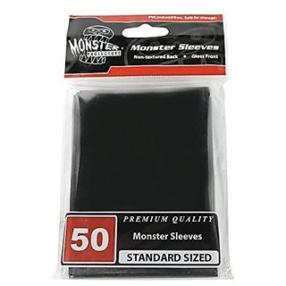 Sleeves Monster Protector Sleeves Standard Size Gloss Black (Fits Mtg Magic The Gathering And Other Standard Sized Gaming Cards)