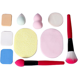 Parichita Makeup Beauty Foundation Cream Powder Liquid Blender Sponge Puff and brush pack of 10 pcs