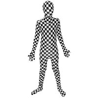 Black And White Check Kids Morphsuit Fancy Dress Costum