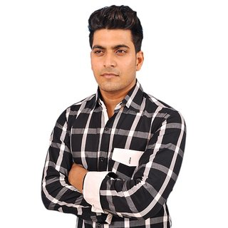 Adhaans Black & white color large check shirt