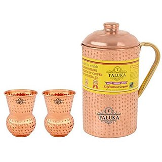 Taluka Handmade Pure Copper Hammered Jug with Brass Handle 2000 ML with 2 Glass 300 ML each -Serving Storage water Good Health Benefit Yoga Ayurveda