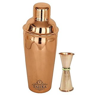Taluka Copper Polish Steel Cocktail Wine Shaker 750 ML - Mixing amp Serving Wine Cocktail Bottle with Double Side Peg Measure amp Drink Measuring Bar Tool 30/60Ml
