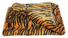 Fur Cloth color Yellow tiger print , Size 38  x 34 , 2 Cms soft Hair Length Used For Dresses, Soft Toys Making, Jackets Etc
