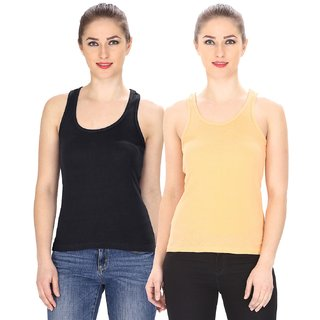 1f71e00834f Friskers Multicolor Casual Cotton Plain Tank Tops (Pack of 2)
