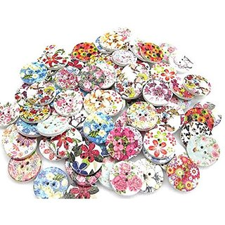 Printed Wooden Buttons , round small Size , Used In Dresses , Handicraft , Art  Craft , Scrap Booking , Decorations , Set Of 90 Buttons 2. 2. Cms