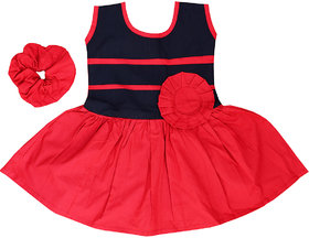 Flora's Self Design Cotton Frocks For Girls (with Wrist Band)