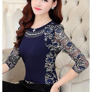 Women's Western Wear Necklace Collar Long sleeve Designer Lace Crochet Tops