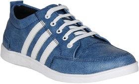Koxko 1726 3-Strips Men's Blue Faux Leather Casual Shoe