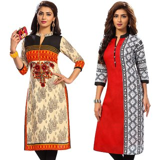Jevi Prints - Combo of 2 Unstitched Women's Cotton Printed Kurti Fabrics (Fabrics Only for Top)