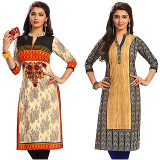 Jevi Prints - Set of 2 Unstitched Women's Cotton Printed Kurti Fabrics (Fabrics Only for Top)