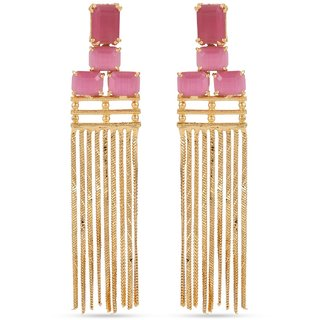 Tistabene Retails Contemporary Colored Stones  Chains Gold Plated Dangle and Drops Earring For Women  Girls (ER-3156)