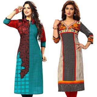 Jevi Prints - Pack of 2 Unstitched Women's Cotton Printed Kurti Fabrics (Fabrics Only for Top)