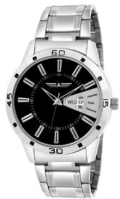 Malasart Latest New Black Day Date Round Dial Stainless Steel Chain Strap Analogue Wrist Watch For Mens Boys