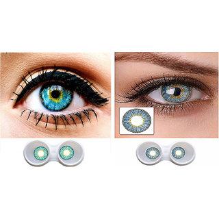 i-look Aqua & Sky Blue Colour Monthly(Zero Power) Contact Lens