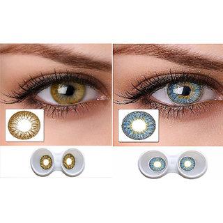 i-look Brown & Aqua Colour Monthly(Zero Power) Contact Lens
