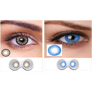 i-look Grey & Sky Blue Colour Monthly(Zero Power) Contact Lens