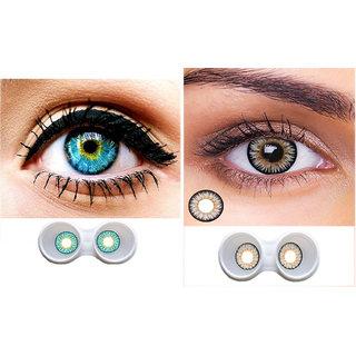 i-look Sky Blue & Grey Colour Monthly(Zero Power) Contact Lens