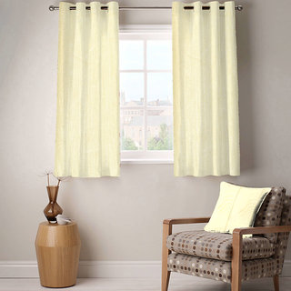 Enaakshi Set of 2 Window Eyelet Curtains Plain White