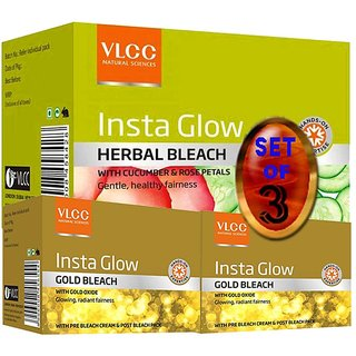 VLCC Insta Glow Gold Bleach and Herbal Bleach (Set of 3)