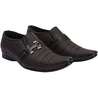 Shoes Bucket Brown Slip On Formal Shoes For Men's SB374