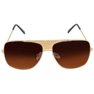 Silver Kartz Villian Old-Monk Golden Metal Wayfarer, Rectangular Sunglasses (Brown)