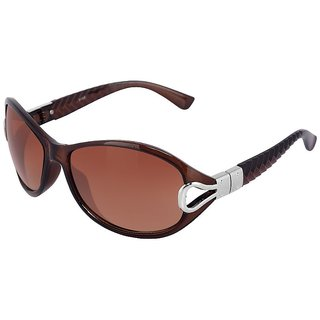 Silver Kartz Brown-Pyramid Oval, Cat-eye Sunglasses (Brown)