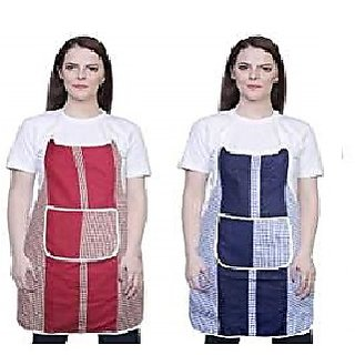 Inaya home decor Check design Blue  Red Cotton Kitchen 2 set Apron With Front Pocket