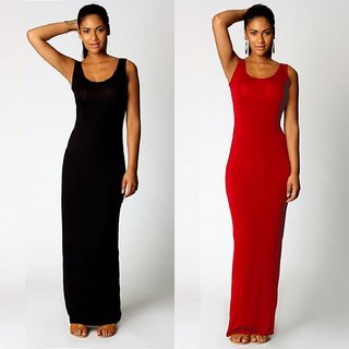 Combo Pack of Black and Red Plain Maxi Dress