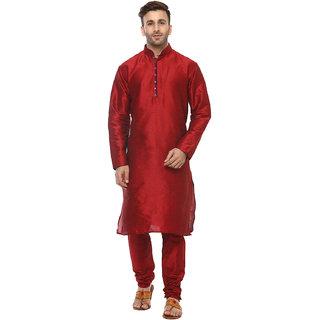 Hangup Mens Red Straight Fit Sherwanis