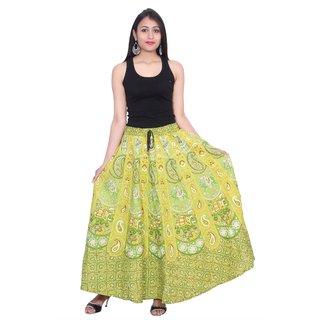 Kastiel Neon Green Cotton Printed Long Skirts Women / Girls