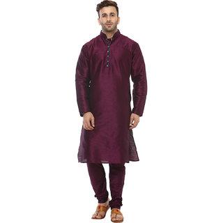 Hangup Mens Purple Straight Fit Sherwanis