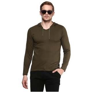 Urbano Fashion Men's Green Hooded T-Shirt