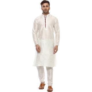 Hangup Mens White Straight Fit Sherwanis