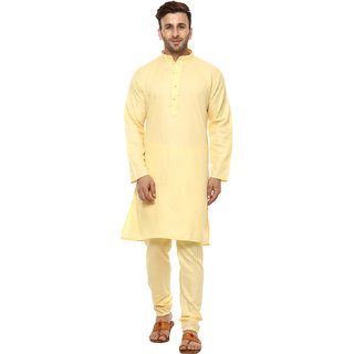 Lee Marc Mens Yellow Straight Fit Sherwanis
