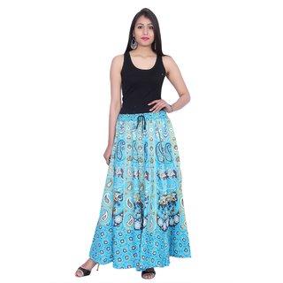 Kastiel Neon Blue Cotton Printed Long Skirts For Women / Girls