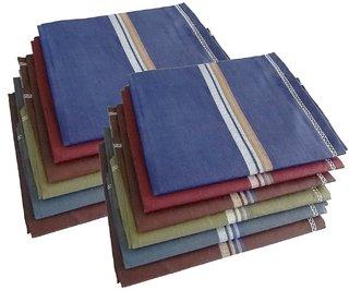 Kotton Labs  Men's Multicolor Cotton Handherchiefs Pack of 6