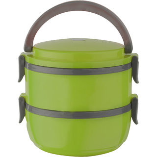 Amartej Oppo Star Series 2 Piece Container Insulated Stainless Steel Lunch Carrier With Handle - Green